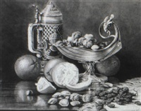 still life of tankard, fruit and nuts on table by clara l. maxfield