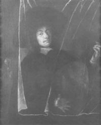 bildnis eines lautenspielers, der hinter einem durchsichtigen vorhang steht by barent fabritius