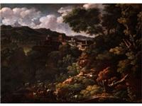 italienische landschaft mit einem bergstädtchen und heimziehenden hirten by gaspard dughet
