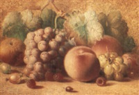 still life of fruit on a bank by charles archer