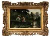 a couple in a boat fishing by henry john yeend king