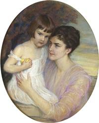 porträt einer mutter mit ihrem kind by frieda menshausen-labriola