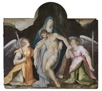 pietà mit zwei fackeltragenden engeln by michiel coxie the elder