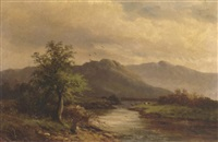 view on the dee, llangallen, wales by m.m. jacobi
