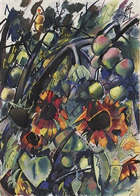 äpfel mit sonnenblumen by otto herbig