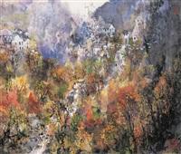鸟飞惊山村 (landscape) by xiao han