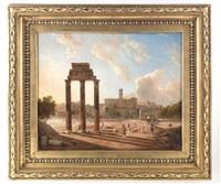 blick auf das forum romanum mit dem konservatorenpalast, dem castor- und pollux-tempel sowie dem bogen des septimus severus by gaspare gabrielli