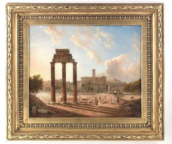 blick auf das forum romanum mit dem konservatorenpalast dem castor und pollux tempel sowie dem bogen des septimus severus by gaspare gabrielli