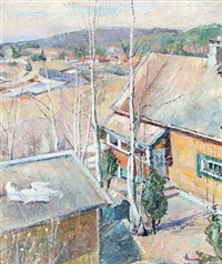 view over houses, in the background mountains by severin grande