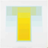 untitled (yellow, blue, green); untitled (blue and purple) (2 works) by karl gerstner