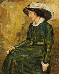portait of a the artist wife adèle peschke-köedt in a green dress by matthias m. peschcke-køedt