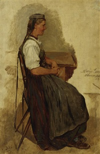 junge schwälmerin am tisch (study) by karl böker