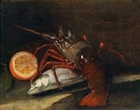 fisch, hummer und eine halbe zitrone auf einer steinplatte by giuseppe recco