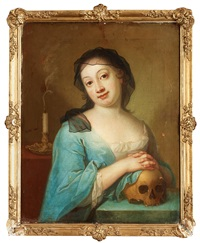 vanitas with a young lady and skull by per krafft the younger