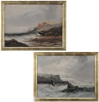 rescue boat in rough seas and figures on shore (2 works) by william matthew hale