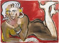 weiblicher akt mit zigarette by elvira bach