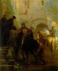 abschied der kreuzritter im klosterhof by august fischbach