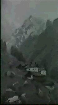 paesaggio montano con baite by karl hofmann