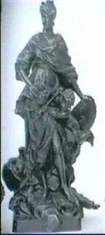 staende kvinde med kongekrone, skjold med de tre liljer og putto med scepter by guillaume coustou (-unattributable)