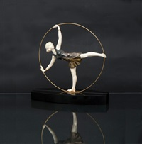an art deco chryselephantine figure dancer with ring by samuel lipchytz