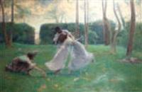 trois jeunes femmes jouant dans un parc by pierre emile cornillier