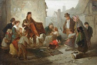 a hurdy gurdy player entertaining crowds with a monkey by edward robert smythe