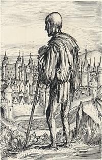 ärmlich gekleideter wanderer blickt von einer anhöhe auf mittelalterliche stadt by andreas paul weber
