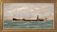 portrait of the steam/sail vessel middlesex . ship with needlework details by thomas h. willis