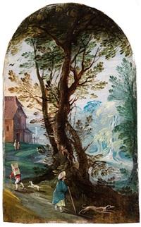 kleines landschaftsbild mit baumgruppe, gebäude und figurenstaffage by jasper van der laanen