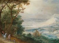 weite flusslandschaft mit einer burg und reitern by philips de momper the elder