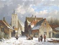 winterliche straßenszene in einer holländischen kleinstadt by adrianus eversen