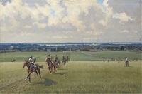 warren hill, towards newmarket (+ the high street; pair) by neil cawthorne