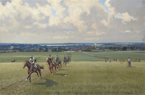 warren hill towards newmarket the high street pair by neil cawthorne