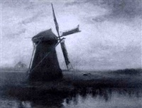 landscape with windmill by arthur feudel