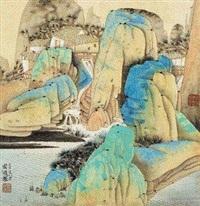青绿山水 by qi enjin