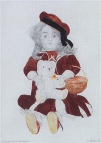 sitzende puppe mit korb und teddybär by elmar peintner