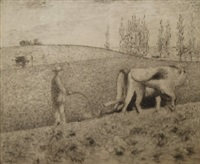 ploughing the fields (4 works) by achille laugé