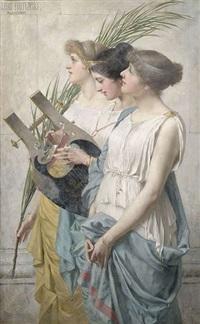 drei römische sängerinnen mit leier und palmzweig by leon fortunski