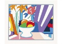 still life with lilies and mixed fruit by tom wesselmann