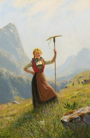 peasant girl with a rake by hans dahl