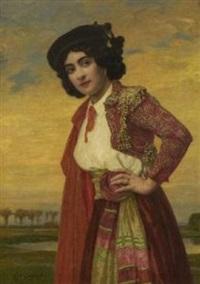 bildnis einer dame in spanischem kostüm by ludwig von langenmantel