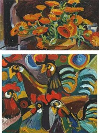 chicken (+ marigolds; 2 works) by eyvind olesen