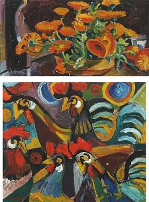 chicken marigolds 2 works by eyvind olesen
