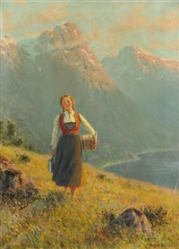 young girl by a fjord by hans dahl