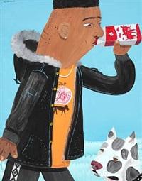 milk drinker with dog by huskmitnavn