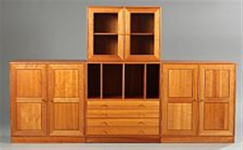 Cherry Wood Wall Unit Comprising Chest Of Drawers, Two Cabinets And Display  Cabinet By Jens