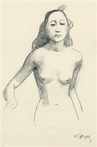 stehender weiblicher akt mit langen haaren by karl hofer