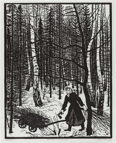 holzlesende im winterwald by conrad felixmüller