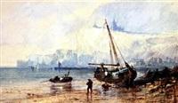 fishing boats on a beach by paul marny