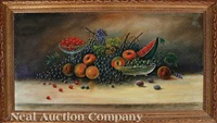 still life of grapes, peaches, apples, plums, watermelons and cherries by will ousley